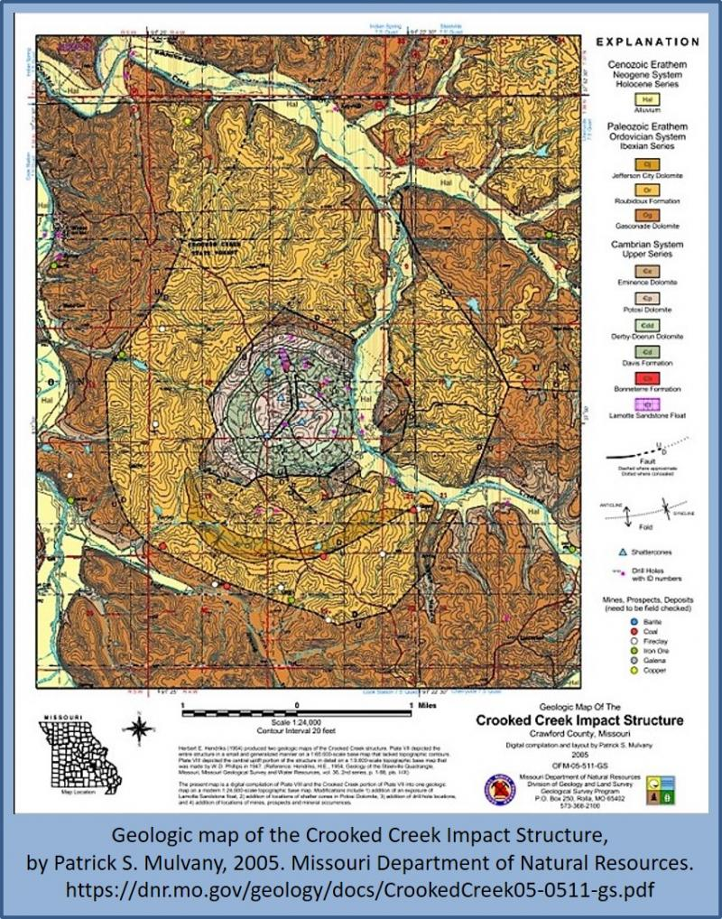 Crooked Creek Impact Crater Map