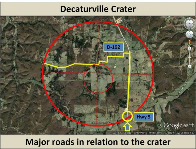 Some roads in relation to Decaturville Crater